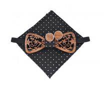 pánský motýlek dřevěný vyřezávaný tm. modrý Barry White