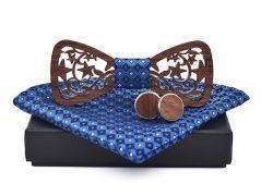 pánský motýlek dřevěný vyřezávaný modrý