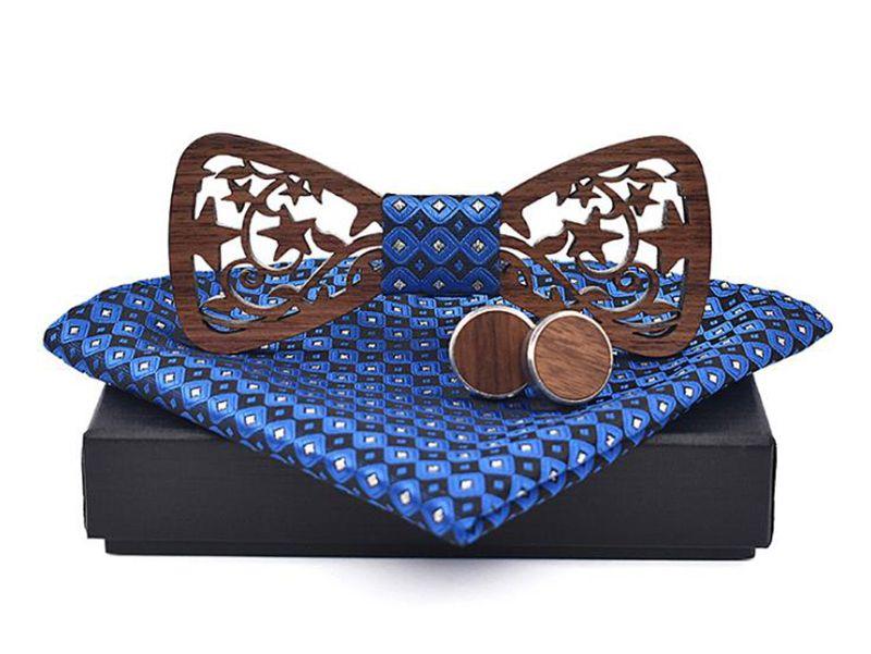 pánský motýlek dřevěný vyřezávaný modrý Barry White