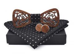 pánský motýlek dřevěný vyřezávaný černý