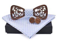 pánský motýlek dřevěný vyřezávaný sv. modrý
