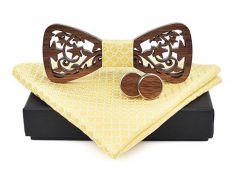 pánský motýlek dřevěný vyřezávaný žlutý