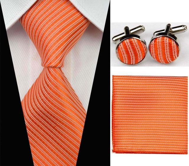 oranžová kravata set