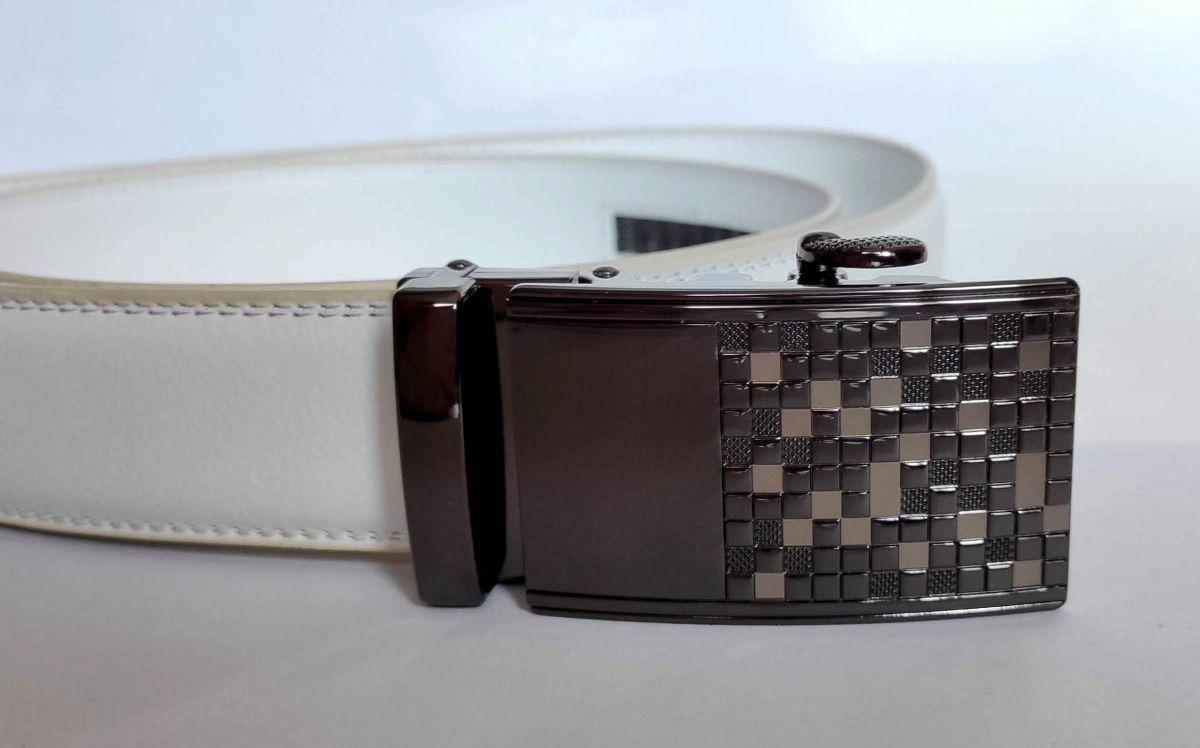 Bílý pásek Man Design s automatickou sponou Baumruk