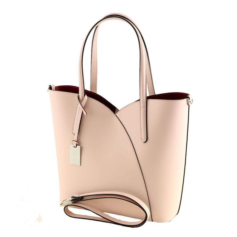 italská růžová kožená kabelka